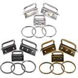 """45Pcs Assorted Size Key Fob Hardware with Key Rings Sets, Perfect for Bag Wristlets with Fabric and Other Hand Craft - 4/5"""",1"""
