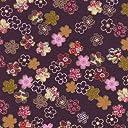 【定番 綿ちりめん風(エンボス)和柄 和調プリント】金粉醍醐桜 4色あります 1m単位で切り売りいたします (紫)