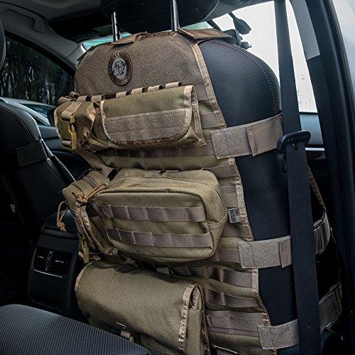 OneTigris 車シートカバー ミリタリー 車載用シートバックポケット付き キック対策 ベルクロ (ブラウン - 改良版)