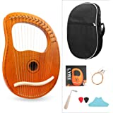 Mr.Power Lyre Harp Ancient Greece Style Harps with Tuning Wrench, Extra String Set, Cleaning Cloth, Black Carry Bag (16 Strin