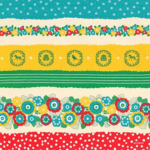 《ネコポス対応》(キステ)Kisste echino デザイナーズ小ふろしき 5-4-01519 【No.2】花咲く グリーン