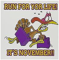 Dooniデザインランダムトゥーン–Run For Life Thanksgiving Turkeyユーモア–グリーティングカード Set of 6 Greeting Cards