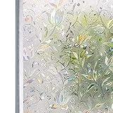 窓際花咲く ガラス目隠しフィルム ステンドグラス シート UVカット 遮光 飛散防止 断熱 結露防止 めかくし シート シール テープ 貼ってはがせる 外から見えない 網ガラスも適用(花信風 90 * 200cm)