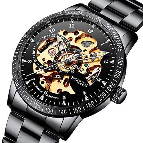 BesTn出品 腕時計 メンズ 機械式 自動巻き スケルトン 夜光 ビジネス パンク アンティーク
