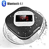 Waterproof Bluetooth Shower Radio Speaker with LED Screen, AGPTEK Hands-Free Portable Wireless Speaker with Suction Cup, Buil