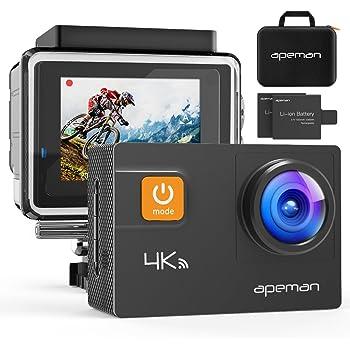 APEMAN アクションカメラ 4K 20MP 高画素UHD WIFI搭載 40m強力防水 170度調整可能広角 手ブレ補正 HDMI出力 スポーツカメラ アクセサリー多数 バイク/自転車/車に取り付け可能 専用ケース付き 1050mAhバッテリー*2 ウェアラブルカメラ・アクションカム(新品)
