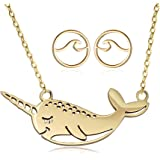 """YOUCANDOIT2 Cute Narwhal Unicorn of The Sea Necklace Geometric Jewelry for Women Girls 18"""""""
