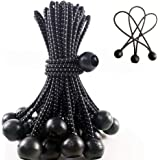 6 inch Ball Bungee Tie, Black - Joyeyou Elastic String for Canopy, Tarp, Straps, Tent ,25-Pack