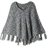 Azhido MMBeauty Baby Girls Solid Tassel Round Neck Knitted Poncho Cloak Coat Biege
