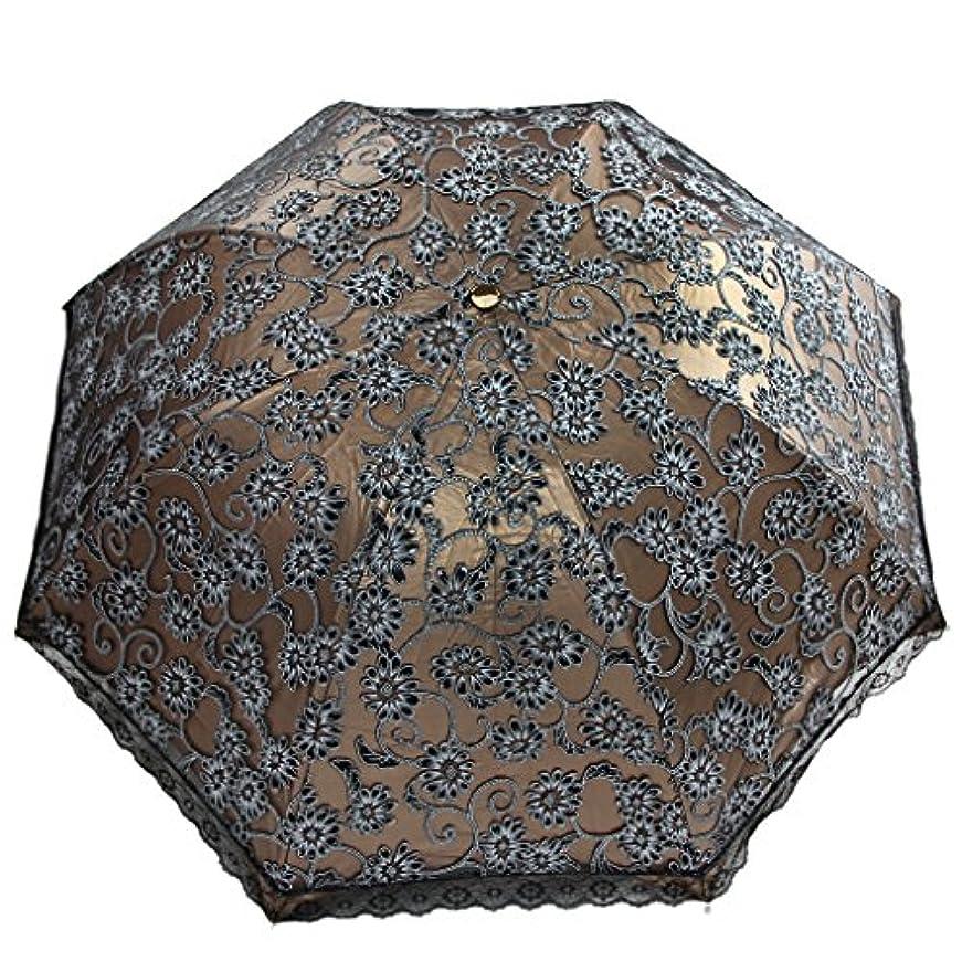 経験者拒絶する旋回日傘折り畳み レディースレース傘 夏 日よけ 紫外線対策 パラソル ウェディング用品傘 晴雨兼用 軽量 uvカット100 女性用傘 8本骨 ナチュラル レディースかわいいレース日傘 手動開き ブラック