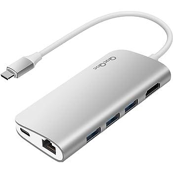 USB C ハブ USB C Hub Adapter 8-in-1 多機能4K@30hz HDMI出力,1000M Ethernet LANポート,TF/SDカードリーダー,USB3.0ポート*2,PD充電可能,超高速データー伝送 MacOS,Linux,Android & Windows Type Cデバイスなどに対応 QacQoc GN30E(シルバー)