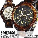 [ソリッソ]SORRISO シチズンミヨタムーブメント搭載 べっ甲カラー ミッドサイズ時計 フェイククロノグラフ SRHI14 腕時計 CITIZEN MIYOTAムーブメント メンズ BLK