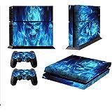 PS4 スキン シール- プレステ 4 スキン シール-PS4 コントローラー シー - PS4 ステッカー - PS4 スティック- シールはハンドルと本体を含む-ブルー・ファイヤー
