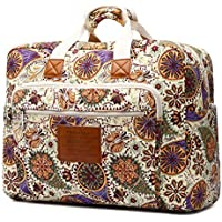 Malirona Women's Canvas Overnight Weekender Bag Carry On Travel Duffel Tote Bag Bohemian Flower