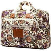 Malirona Women's Canvas Overnight Weekender Bag Carry On Travel Duffel Tote Bag Bohemian Flower