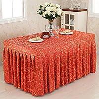 結婚式、宴会、テーブルカバーテーブルセット長方形の布、またはレストランのためのワンピースの刻まれたテーブルクロス表のスカート,Red,23.6*94.4*29.5inches
