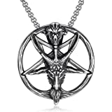 The Satanic Temple Necklace Goat Head Inverted Pentagram Pentacle Stainless Steel Baphomet Necklace Pendant Chain Gifts Altar