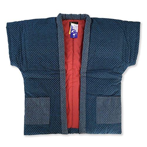 はんてん 刺繍婦人やっこ袖なし半天7320 青ブルー 久留米手づくり ちゃんちゃんこ