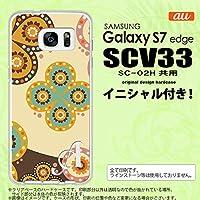 SCV33 スマホケース Galaxy S7 edge ケース ギャラクシー S7 エッジ イニシャル エスニック花柄 ベージュ×茶 nk-scv33-1583ini M