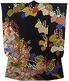 アンティーク 着物 振袖  刺繍 垣根に桐や菊 裄62cm 身丈167cm
