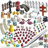 Miniature Garden Ornaments,99 Pcs Miniature Ornaments Kit Set with 1 Pcs Tweezer for DIY Fairy Garden Dollhouse Decoration