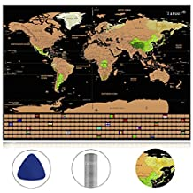 Scratch Off World Map Travel Poster Travel Atlas ,Tatuer, Deluxe Large Personalized Decor (59.5 X42 CM/23.4X16.5 Inch)