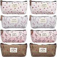 TecUnite 8 Pieces Pen Case Pencil Bag Canvas Pencil Pen Case Pen Holder Cosmetic Makeup Bag Set (Floral Style)