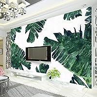 Ansyny カスタム写真壁紙ヨーロッパスタイル手塗りバナナの葉植物緑の葉テレビの背景壁壁画装飾壁紙-160X120CM