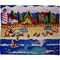 Deny Designs Renie Britenbucher Doris the Blue Whale at Cape Cod Fleece Throw Blanket 60 x 80 [並行輸入品]