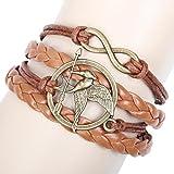 Afoxsos The Hunger Games Merchandise Leather Bracelet Cord Mockingjay
