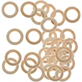 MagiDeal Pack of 60 Natural Unfinished Wooden Loop Rings Wood Material JEWELEY DIY