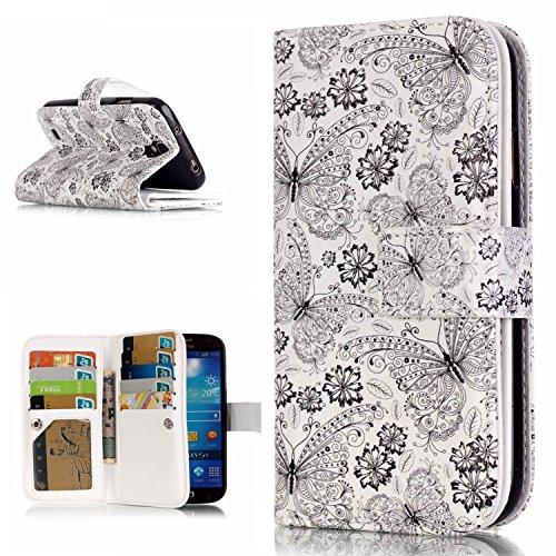 OMATENTI Samsung Galaxy S4 用 PUレザー手帳型ケース [無期限生涯補償付き] 耐摩擦 耐汚れ 全面保護 フリップ 人気 横開き スマートフォン カバー (バタフライ #1)