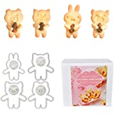 Huggy Animal Cookie Cutters, Bear, Cat, Bunny, Piglet Cookie Cutter and Face Stamps, 8-Piece Set