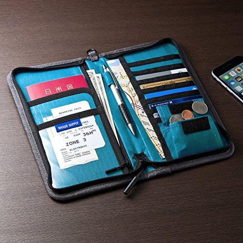 サンワダイレクト パスポートケース 13ポケット 航空券対応 トラベル オーガナイザー Lサイズ グレー 200-BAGIN002GY
