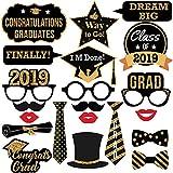 卒業写真ブース小道具 - 2019年 本物のゴールドグリッター 卒業パーティー記念品 装飾用 (21ピース)