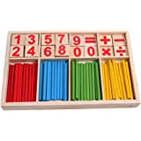 Lanruru Montessori Mathematical Game Wooden Blocks Intelligence Stick Preschool Educational Toys Number Cards Counting  Kids