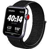 ATUP コンパチブル Apple Watch バンド 42mm 38mm 44mm 40mm、ナイロンスポーツループバンド、交換用ナイロン アップルウォッチリストバンド iWatch Series 6/5/4/3/2/1ベルトに対応 (01 ブラッ
