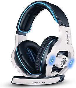 「ゲーミングヘッドセット」 「SADES」7.1ch USBヘッドフォン ヘッドホン 高音質 臨場感 騒音抑制 マイク付き ゲーム用ヘッドホン pc用ゲーミングイヤホン 軽量 耐久 ノートパソコン 対応-白色