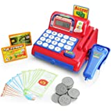 Boley Cash Register with Scanner - Red and Blue Cash Register Toy for Kids with Real Calculator, Play Money and Pretend Cashi