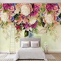 Bzbhart テレビの背景装飾画、壁用ステッカー写真の壁紙モダンアメリカンレトロフラワー3D大壁画のリビングルームの寝室の背景壁装材防水壁紙-250cmx175cm