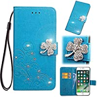For Vivo Y7S Wallet ケース, FlipBird 3D Bling Flower[Leaf Embossed] PU Carrying PU Leather Folio Flip Cover with Card Holder & Kickstand for Vivo Y7S with Wrist Strap Blue