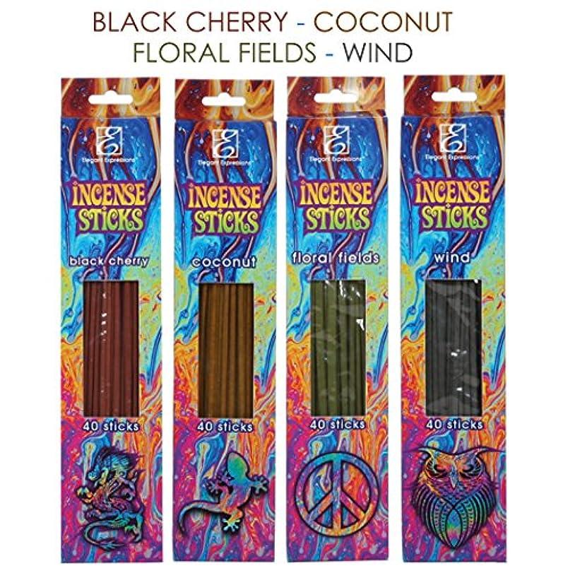 りアンドリューハリディシロナガスクジラHosley 160パックAssortedバルクパックIncense Sticks – ブラックチェリー、Coconut、花柄フィールド、風。手Fragranced、Infused with Essential Oils o9
