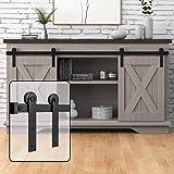 WINSOON 6FT Super Mini Sliding Barn Door Cabinet Hardware Kit for Double Doors TV Stands Small Wardrobe Cabinets, I Shape Han