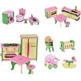 HOMYL Lot 16 Pieces Wooden Dollhouse Miniatures Furnitures Puzzle Models for Baby's Room Kitchen Bathroom Decoration Children