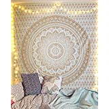 Gold Mandala Tapestry Pure Cotton Printed Wall Hanging Dorm Decor Tapestries Ombre 213x137 cm