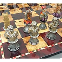 Medieval Times Crusades Knight Chess Set Painted Busts W/ High Gloss Cherry & Burlwood Color Board 18 by HPL [並行輸入品]