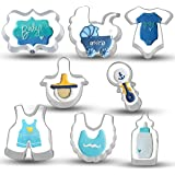 Bonropin Baby Shower Cookie Cutter Set - 8 Piece Stainless Steel Cutters Molds Cutters for Making Onesie, Bib, Rattle, Bottle