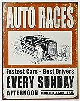自動車レース★AUTO RACES★レトロシリーズ★アメリカンブリキ看板