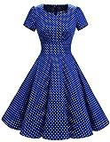 Dresstell(ドレステル) ヴィンテージスタイル スイングワンピース お呼ばれ 結婚式ドレス 半袖 Aライン レディース ロイヤルブルー 小柄ドット Lサイズ