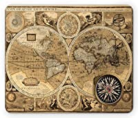 Lunarable World Map Mouse Pad, Old Chart with Countries Oceans Continents Atlas Nostalgic Antique Image, Standard Size Rectangle Non-Slip Rubber Mousepad, Sand Brown Umber [並行輸入品]